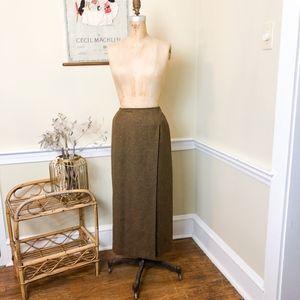 Vintage 90's Brown Wool Tweed Midi Skirt with Slit